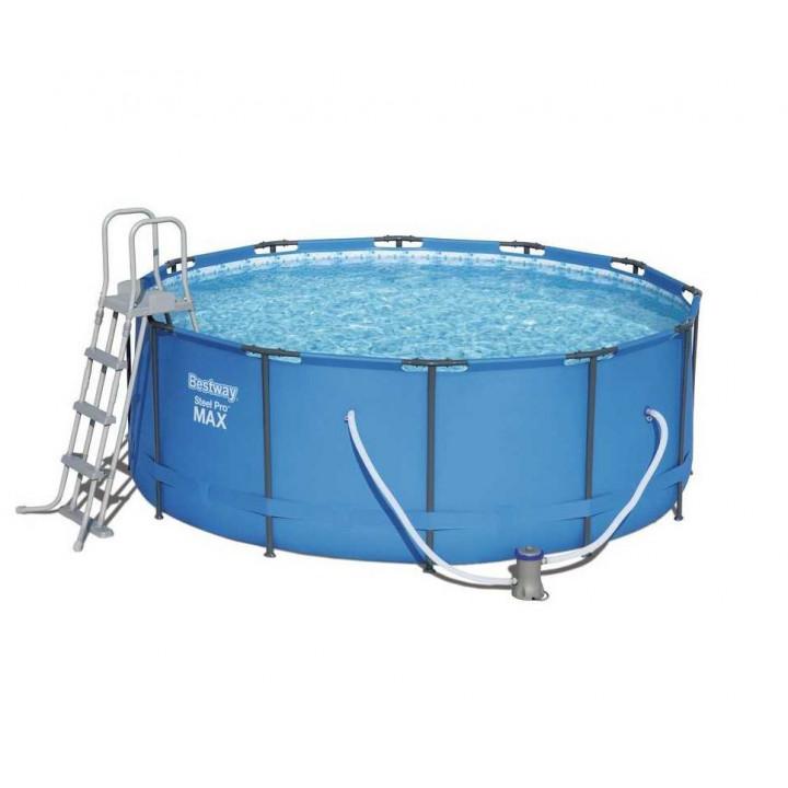 Каркасный круглый бассейн 366х133 см, 11440 л (лестница, фильтр), Bestway 15427