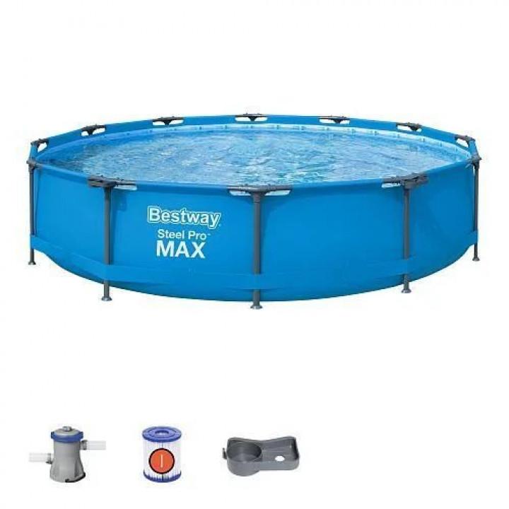 Каркасный круглый бассейн 366x76 см, 6473 л, Bestway Steel Pro, с фильтр-насосом, 56416