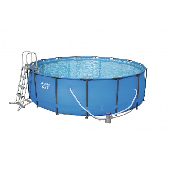 Каркасный круглый бассейн 457х122 см, 16015 л,  лестница и фильтр, Steel Pro Max Bestway 56830