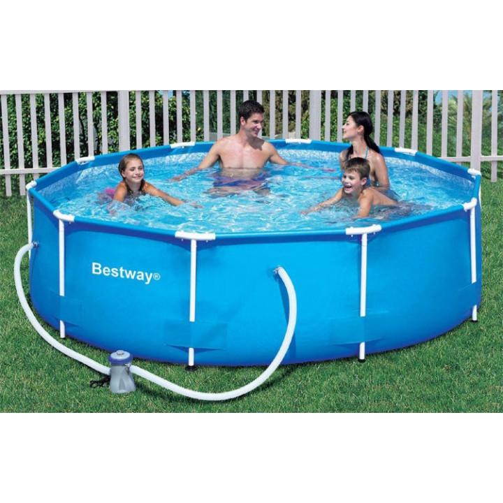 Каркасный бассейн круглый 305х100 см, 6200 л., фильтр-насос Bestway Steel Pro 56984